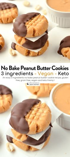 Nutritious Snack Tips For Equally Young Ones And Adults The Best No Bake Peanut Butter Cookies, Keto, Vegan Keto Cookies, No Bake Cookies Recipe Peanut Butter, Cookies Et Biscuits, Peanut Butter Snacks, Almond Cookies, Chocolate Cookies, Keto Vegan, Vegan Keto Recipes, Vegan Baking