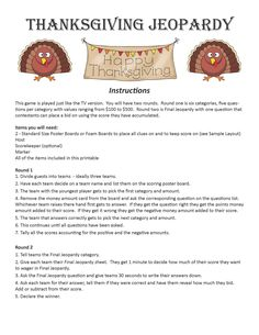 Thanksgiving Family Games, Thanksgiving Facts, Thanksgiving Parade, Thanksgiving Blessings, Thanksgiving Traditions, Thanksgiving Table, Thanksgiving Recipes, Christmas Jeopardy, Christmas Trivia Games
