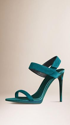 Teal green Suede Platform Sandals - Image 1