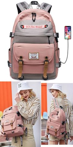 Black 42 12 31Cm New Multi-Functional Simple Large-Capacity backpack Female Student Bag College backpack Girl Multi-Function backpack