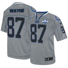 8bebe4a45 (Elite Nike Men s Reggie Wayne Lights Out Grey Jersey) Indianapolis Colts  NFL Seasons Patch Easy Returns.