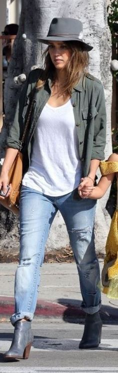Who made  Jessica Alba's green button down shirt, hat, blue ripped jeans, and brown handbag?