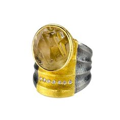 Atelier Zobel at Patina Gallery. Ring, Munsteiner-cut Rutilated Quartz, 7 Champagne Diamonds, Oxidized Sterling Silver, 22K Yellow Gold