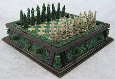 Mayan Mexican Wood & Malachite Stone Aztec Calendar Complete Chess Set