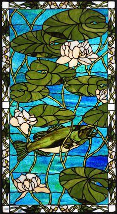 Meyda Tiffany Bass Water Lilies Stained Glass Window