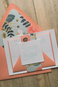 This invitation is my new favorite!!! NICOLE Suite Floral Package. Rifle Paper Co's brand new pattern, BIRCH, is used as the liner and belly band. Perfect for a spring, summer, or fall wedding. Coral, mint, letterpress, modern fonts, floral, rustic.