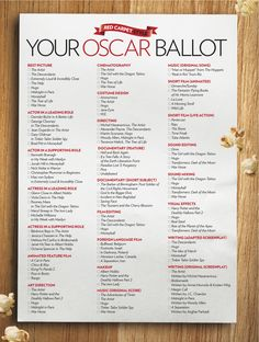 Oscar Ballot by Brian Worley for People Magazine