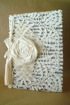 Shabby Vintage Lace Doily Fabric Ticking Hardback by ShabbySoul