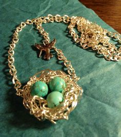 Unique Bird's Nest Necklace with Humming Bird charm