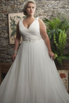 Empire Sweep Train Chiffon White Straps Plus Size Wedding Dress with Beaded Sash