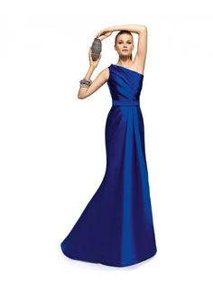 One Shoulder Ruching Floor Length Satin Bridesmaid Dresses WE0068