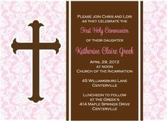 First Holy Communion Invitation from Paper Concierge.  www.lgreek.paperconcierge.com