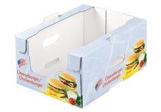 Stabile Regalsteige in EB Welle – für höchsten Schutz und Stabilität für besonders schwere Güter. Auf die Aufrichter der Kunden anpassbar. Stapelfähig auch im Kühlraum. Mit  praktische Tragegriffen. • #packit! #regalverpackung #twinsecure #offset #packaging #wellpappe #karton #nachhaltig #verkaufsverpackung #verpackungsdesign #lebensmittelverpackung Twins, Packaging, Box, Food Packaging, Cardboard Packaging, Packaging Design, Meat, Shelf, Simple