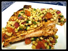 Chicken with grilled corn salsa