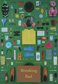 Objetos icônicos de séries e filmes reunidos em cartazes