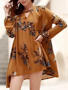 Chic Round Neck Long Sleeve Floral Print Asymmetrical Dress For Women #jewelry, #women, #men, #hats, #watches