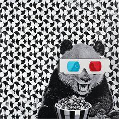 Panda Print by Matthew Lew #panda #art #print #popcorn #3dglasses  #matthewlew