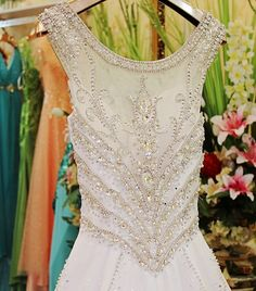 """Hand-sewn Crystal Wedding Dress GHH-043 USD1,148.97, Click photo to Learn how to buy,Skype """" lanshowcase """" for discount, follow board for more inspiration"""