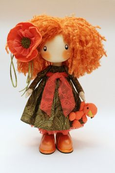 Doll Ivi redhead textile doll cloth doll by DollsLittleAngels