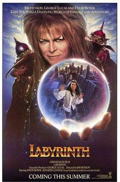 Labrinth.  15-year-old Sarah accidentally wishes her baby half-brother, Toby, away to the Goblin King Jareth who will keep Toby if Sarah does not complete his Labyrinth in 13 hours.