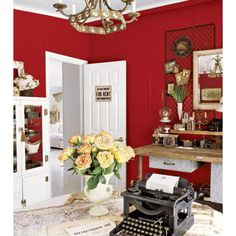 Home Office Photos Red Wall Design, Pictures, Remodel, Decor and Ideas
