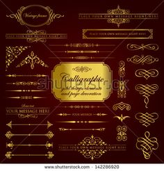 Calligraphic gold design elements and page decoration set 1