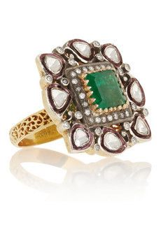 Artisan Sterling silver, emerald and...