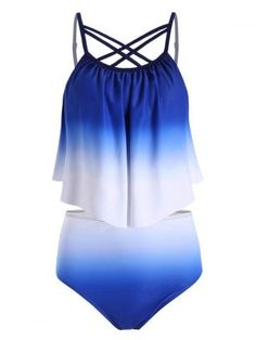 Ombre Flounce Overlay Criss Cross Tankini Swimsuit are beautiful, lovable and Ta. Bathing Suits For Teens, Swimsuits For Teens, Cute Bathing Suits, Women Swimsuits, Halter Top Swimsuits, Cute Swimsuits, Tankini Top, Swimwear Fashion, Women's Swimwear