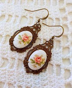 Peach Floral Earrings  Pretty Floral Earrings by VRBBoutique