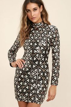 The fun never stops in the Waking Up in Vegas Rose Gold and White Sequin Dress! Rose gold, white, and black sequins form a diamond pattern across a mock neck and long sleeves. Bodycon silhouette. Exposed gold back zipper.