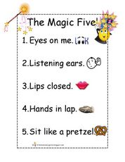 FREE from Little Miss Kindergarten on TpT. I hope you enjoy The Magic Five Listening Mini Poster. I use this as a visual during my whole group lessons to refocus or redirect behavior. Preschool Behavior, Classroom Behavior Management, Classroom Rules, Music Classroom, Kindergarten Classroom, Classroom Activities, Classroom Organization, Classroom Ideas, Organizing