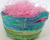 Easter Basket Hand Coiled OOAK Clothesline Rope Bowl by SallyManke