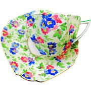 Shelley Queen Anne flower chintz teacup duo