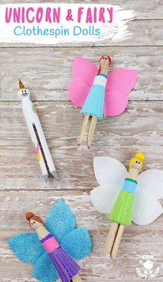 Fairy and Unicorn Clothespin Dolls are a delightful spin on traditional peg dolls! Simple to make and quite magical! Everyone will love these pocket sized homemade dolls to play with. art for teens Fairy and Unicorn Clothespin Dolls Arts And Crafts For Teens, Art And Craft Videos, Easy Arts And Crafts, Diy And Crafts Sewing, Crafts For Kids To Make, Crafts For Girls, Arts And Crafts Projects, Easy Diy Crafts, Creative Crafts