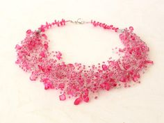 SOLD- Pink beaded wedding airy crocheted necklace. Wedding. Multistrand Necklace. Beadwork. Beaded Jewelry, Ready to ship.