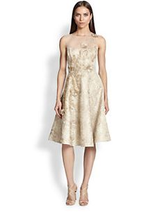 Teri Jon - Illusion-Neck Jacquard Dress