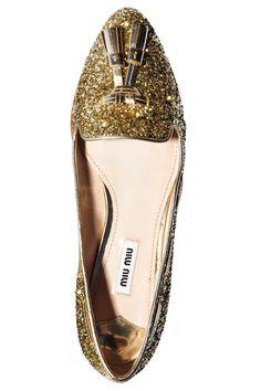Miu Miu Glitter Slippers with Tassels