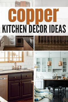 How to effectively incorporate copper into your kitchen with these awesome copper kitchen decorating ideas. There are so many options! Farmhouse Style Kitchen, Farmhouse Homes, Farmhouse Decor, Copper Kitchen Decor, Pinterest Home, Layout, Find Furniture, Rustic White, Cool Diy Projects