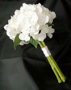 White Hydrangea Wedding Bouquet, Purple Hydrangea Bridal Bouqet, Wedding Flowers, Bridesmaids Flowers. $45.00, via Etsy.