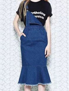 Shop Blue Denim Flounce Midi Overall Dress from choies.com .Free shipping Worldwide.$36.99
