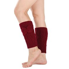 Muxika Winter Women Bowknot Crochet Knitted Stocking Leg Warmer Cover Trim Socks * Discover this special product, click the image : Fashion for Christmas