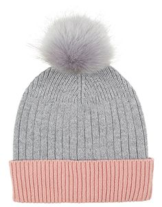 b2c16c9365e Contrast Turn Up Faux Fur Pom Beanie Hat | Grey | One Size | 5911751800 |  Accessorize