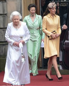 From left, Her Majesty, The Queen, Her Royal Highness, Princess Anne, The Princess Royal and Catherine, The Duchess of Cambridge.