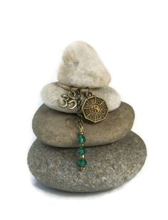 Om Yin Yang Mini Rock Cairn Solid Strong by CedarwoodCreations