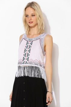 Tela Embroidered Fringe Tank Top #urbanoutfitters
