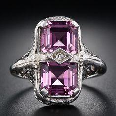 Pink Tourmaline Art Deco Ring