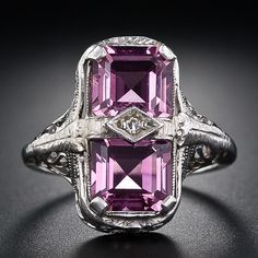 Pink Tourmaline Art Deco Ring