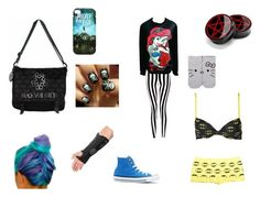 """Home from hospital"" by linz111 ❤ liked on Polyvore featuring Boohoo, Converse, Hello Kitty and Wet Seal"