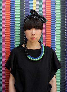 The Celeste asymmetrical woven beaded necklace by jenniferloiselle, £80.00