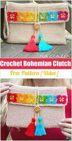 Crochet Bohemian Clutch - crochet clutch bag